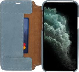 iPhone 12 / 12 Pro: MINIM  leather Bookcase  (Blauw)