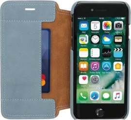 iPhone 7 / 8 / SE (2020): MINIM  leather Bookcase  (Blauw)