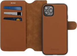 iPhone 12 Pro Max: MINIM 2 in 1 leather Bookcase wallet (Cognac)