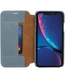 iPhone X / XS: MINIM  leather Bookcase  (Blauw)