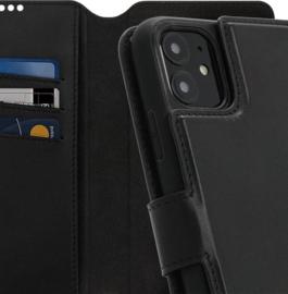 iPhone 11 : MINIM 2 in 1 leather Bookcase wallet (Zwart)