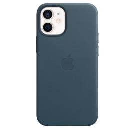 iPhone 12 Mini: Leather case (Baltisch Blauw)