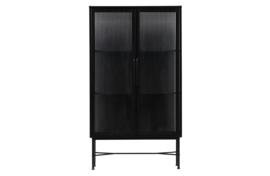 373254-Z | Zion vitrinekast met ribglas metaal zwart | WOOOD Exclusive