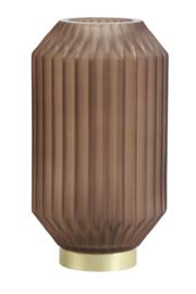 1851382 | Tafellamp LED Ø15x27 cm IVOT glas mat koffie | Light & Living