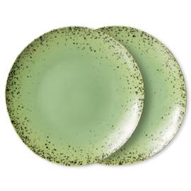 ACE7078 | 70s ceramics: dinner plates, kiwi (set of 2) | HKliving - Eind november verwacht!