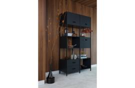 800900-Z   Legacy vakkenkast hout/metaal matzwart   BePureHome