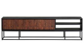 800291-W   Nuts tv meubel hout walnoot/zwart   BePureHome