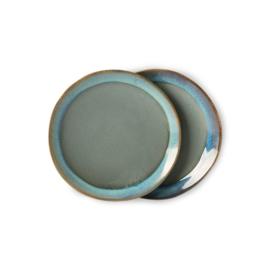 ACE6066 | 70s ceramics: dessert plates, moss (set of 2) | HKliving