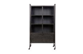800485-Z | Steel storage vitrinekast metaal zwart | BePureHome