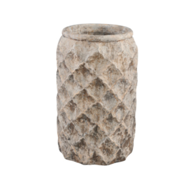 696006 | Isra grey Cement diamond pot round tall high m | PTMD (AFHAALARTIKEL!)