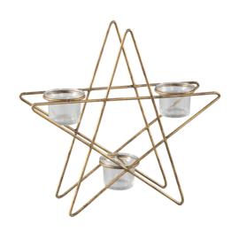 704022 | Xmas Lida brass iron star with tealight cups S | PTMD - Verwacht vanaf week 43!