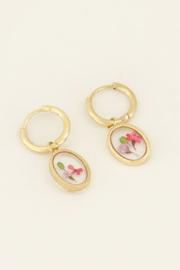 Oorringen wildflower ovaal - goud | My Jewellery