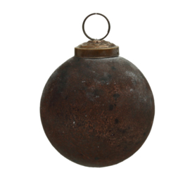 697987 | Christmas Noelle brown antique glass round ball XS | PTMD