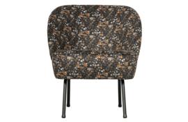 800748-A | Vogue fauteuil fluweel aquarel flower zwart | BePureHome