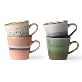 ACE6864 | Ceramic 70's cappuccino mugs set of 4 | HKliving - Eind mei weer verwacht!