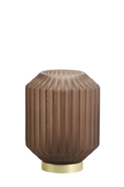 1851282 | Tafellamp LED Ø13x17 cm IVOT glas mat koffie | Light & Living