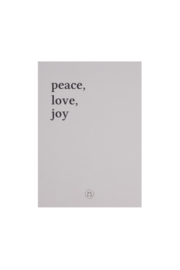 Kaart peace love joy - zand | Zusss - Bestelbaar vanaf week 42!