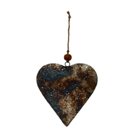 698503 | Christmas Xev antique silver iron hanging heart L | PTMD