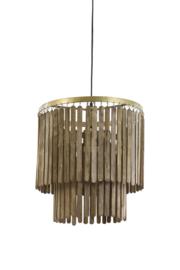 2950464 | Hanglamp Ø45x43 cm GULAG hout donker bruin | Light & Living