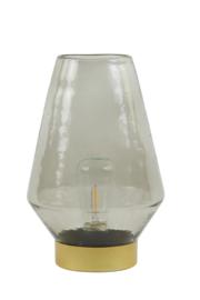 1866227 | Tafellamp LED Ø16x23,5 cm JAYA glas warm grijs+goud | Light & Living
