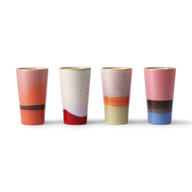ACE6911 | ceramic 70's latte mugs set of 4 | HKliving - Verwacht begin april!