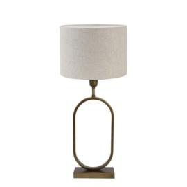 Compleet: Lampvoet JAMIRI antiek brons + Kap cilinder LIVIGNO naturel | Light & Living