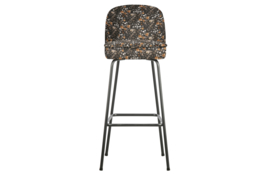 800293-A | Vogue barstoel 80cm fluweel aquarel flower zwart | BePureHome