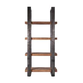 11143 | Boekenkast 94 cm met metalen frame - zwart | Eleonora