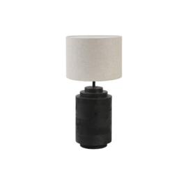 Compleet: Lampvoet Racco mat zwart + Kap cilinder LIVIGNO naturel | Light & Living