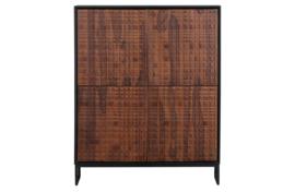 800292-W | Nuts 4-deurs kast hout walnoot/zwart | BePureHome