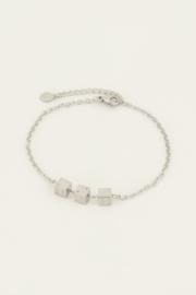 Armbandje drie dobbelsteentjes - goud/zilver | My Jewellery