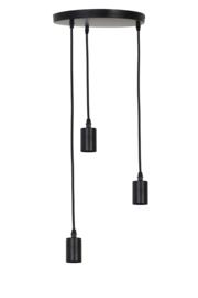 2940612 - Hanglamp 3L Ø30x117,5 cm BRANDON mat zwart Light&Living