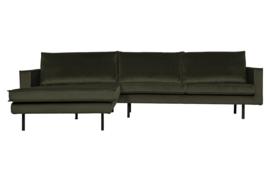 800905-156 | Rodeo chaise longue links velvet dark green hunter | BePureHome