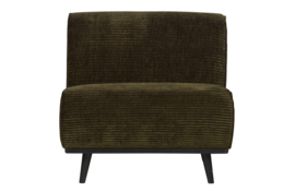 378654-W | Statement fauteuil brede platte rib warm groen | BePureHome
