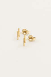 Studs twee staafjes - goud/zilver   My Jewellery