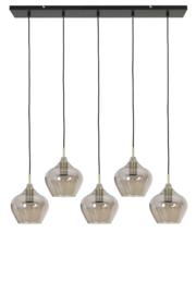 2937627 | Hanglamp 5L 104x20x120 cm RAKEL antiek brons+smoke | Light & Living