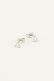 Studs met open driehoek - goud/zilver | My Jewellery