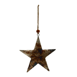 698500 | Christmas Xev antique silver iron hanging star L | PTMD