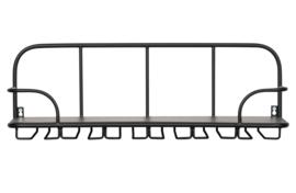 373290-Z | Hugo glazenrek metaal/hout zwart | WOOOD