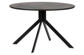 373792-Z | Bruno eettafel rond mdf zwart - Ø120cm | WOOOD Exclusive
