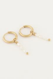 Oorbellen met drie parels - goud/zilver | My Jewellery