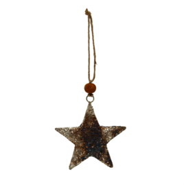 698499 | Christmas Xev antique silver iron hanging star M | PTMD