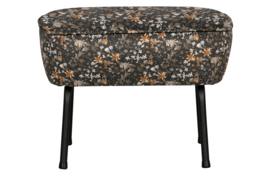 800218-A | Vogue hocker fluweel aquarel flower zwart | BePureHome