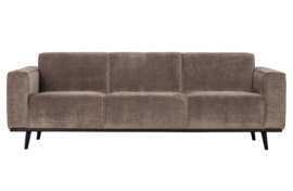 377088-T | Statement 3-zits bank 230 cm brede platte rib taupe | BePureHome