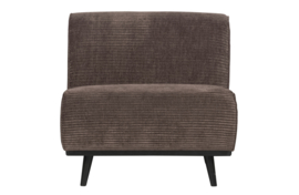 378654-T | Statement fauteuil brede platte rib taupe | BePureHome