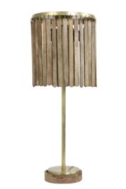 1865264 | Tafellamp Ø30x78 cm GULAG hout donker bruin-antiek brons | Light & Living