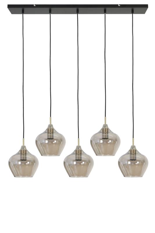 2937627 | Hanglamp 5L 104x20x120 cm RAKEL (lxbxh) antiek brons+smoke | Light & Living - begin mei weer verwacht!