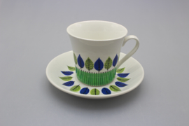 COFFEE CUP AND SAUCER - GREEN / BLUE