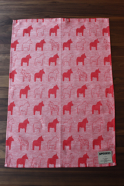 TEA TOWEL DALA HORSE RED
