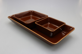 SET OF 3 DISHES - BROWN
